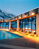 USA, Utah, deck chairs by the outdoor swimming pool, The Cliff Hotel, Snowbird Ski Area