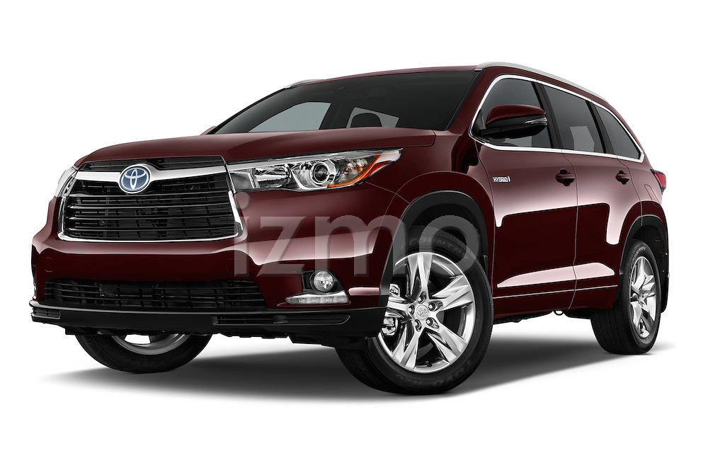 Stock pictures of low aggressive front three quarter view of a 2015 Toyota Highlander Limited Hybrid 4x4 5 Door SUV Low Aggressive