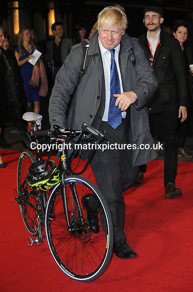 NON EXCLUSIVE PICTURE: PAUL TREADWAY / MATRIXPICTURES.CO.UK<br /> PLEASE CREDIT ALL USES<br /> <br /> WORLD RIGHTS<br /> <br /> The Mayor of London Boris Johnson attending the 58th BFI London Film Festival Centrepiece Gala of Testament Of Youth, at Odeon Leicester Square in London.<br /> <br /> OCTOBER 14th 2014<br /> <br /> REF: PTY 144409