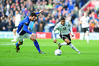 Sean Morrison of Cardiff City vies for possession with Rhian Brewster of Swansea City during the Sky Bet Championship match between Cardiff City and Swansea City at the Cardiff City Stadium in Cardiff, Wales, UK. Sunday 12 January 2020