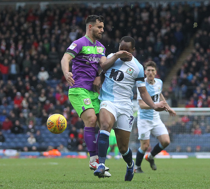 Blackburn Rovers Ryan Nyambe  battles with  Bristol City's Lewis Travis<br /> <br /> Photographer Mick Walker/CameraSport<br /> <br /> The EFL Sky Bet Championship - Blackburn Rovers v Bristol City - Saturday 9th February 2019 - Ewood Park - Blackburn<br /> <br /> World Copyright © 2019 CameraSport. All rights reserved. 43 Linden Ave. Countesthorpe. Leicester. England. LE8 5PG - Tel: +44 (0) 116 277 4147 - admin@camerasport.com - www.camerasport.com