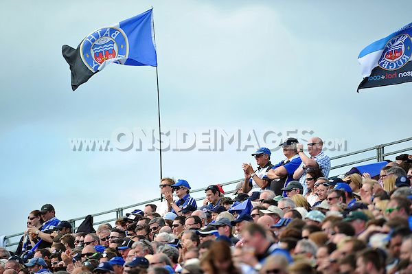 A general view of Bath Rugby supporters in the crowd. Aviva Premiership semi-final, between Bath Rugby and Leicester Tigers on May 23, 2015 at the Recreation Ground in Bath, England. Photo by: Patrick Khachfe / Onside Images