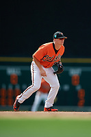 Baltimore Orioles shortstop Cadyn Grenier (54) during a Florida Instructional League game against the Pittsburgh Pirates on September 22, 2018 at Ed Smith Stadium in Sarasota, Florida.  (Mike Janes/Four Seam Images)