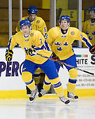Marcus Jonsson (Sweden - 24), Simon Löf (Sweden - 5) - The Merrimack College Warriors defeated the visiting Sweden Under 20 team 4-1 on Tuesday, November 2, 2010, at Lawler Arena in North Andover, Massachusetts.
