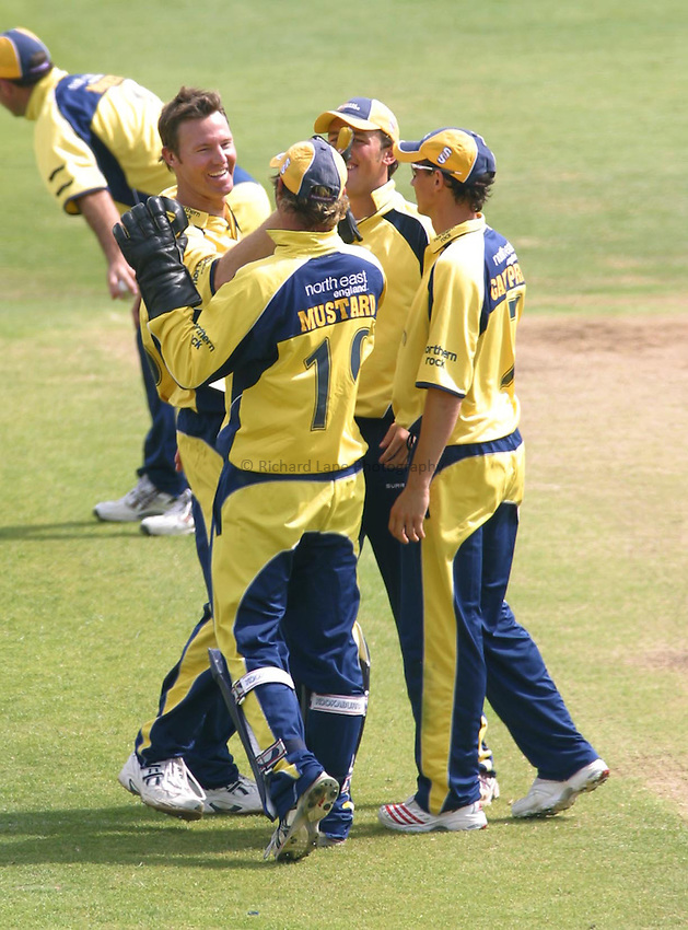 Photo: Dave Linney..Nottinghamshire CCC v Durham CCC. Cheltenham & Gloucester Trophy. 11/06/2006..Durham's Callum Thorp (L) celebrates after taking a wicket.