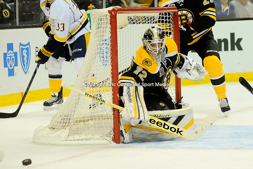 January 2, 2014 - Boston, Massachusetts, U.S. - Boston Bruins goalie Niklas Svedberg (72) protects the net during the NHL game between the Nashville Predators and the Boston Bruins held at TD Garden in Boston Massachusetts.   Boston defeated Nashville 3-2 in overtime. Eric Canha/CSM