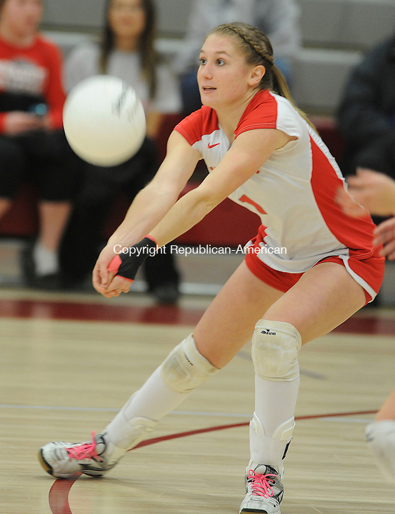 WOLCOTT, CT,  November 8, 2012-  110812JS04- Wolcott's Kayla DePara bumps the ball during their CIAC tournament first round game against Northwestern Tuesday at Wolcott High School . .Jim Shannon Republican-American