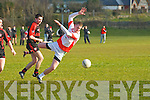 Aaron O'Sullivan (St Pats) in action with Padraig O'Connor (Kenmare Shamrocks) in the Credit Union Senior Football League 2013, Div 2. Round 2. at St Pats GAA Grounds, Blennerville on Saturday.