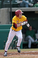 Sean Spear (6) of the USC Trojans bats against the Jacksonville Dolphins at Dedeaux Field on February 19, 2012 in Los Angeles,California. USC defeated Jacksonville 4-3.(Larry Goren/Four Seam Images)
