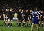 The All Blacks prepare for the haka. The front row is Richie McCaw (left), Neemia Tialata and Keven Mealamu.