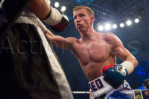 1st September 2017, York Hall, London, England; Matchroom Boxing, JD NXT GEN LONDON; Ted Cheeseman Versus Francesco Lezzi; Ted Cheeseman on the attack with Francesco Lezzi against the ropes in the third round