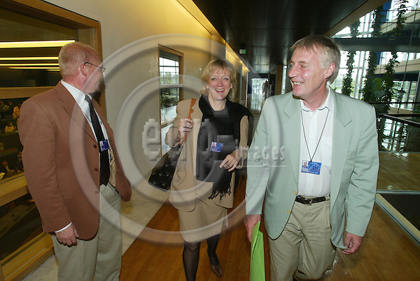 STRASBOURG - FRANCE  -20 JULY 2004--Mr. Ole CHRISTENSEN, Britta THOMSEN and Henrik DAM KRISTENSEN, Danish MEPs for the PES Group.--PHOTO: ERIK LUNTANG / EUP-IMAGES