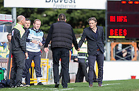 Wycombe Wanderers Manager Gareth Ainsworth shakes hands with Martin Allen Manager of Barnet at full time during the Sky Bet League 2 match between Wycombe Wanderers and Barnet at Adams Park, High Wycombe, England on 16 April 2016. Photo by Andy Rowland.