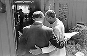 President Anwar al-Sadat of Egypt, left, and Prime Minister Menachem Begin of Israel, right, prepare to enter Aspen Lodge at Camp David, the US presidential retreat near Thurmont, Maryland for the first meeting of their summit to discuss a peace treaty between their two countries with United States President Jimmy Carter on September 6, 1978.  President Carter and first lady Rosalynn Carter wait inside..Credit: White House via CNP