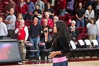 The national anthem this song before Saturday's, March 1, 2014, Stanford women's basketball  vs Washington State game at Maples Pavilion, at Stanford, California.
