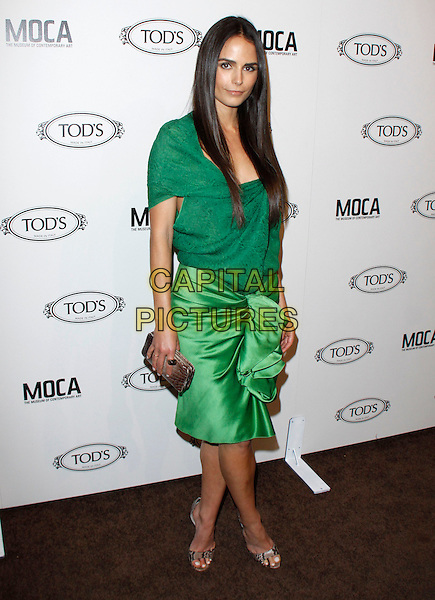 JORDANA BREWSTER.The Diego Della Valle Cocktail Celebration Honoring Tod's Beverly Hills Boutique And MOCA's New Director Jerry Deitch at Tod's Boutique in Beverly Hills, California, USA..full length green dress ruched silk satin top skirt gold beige clutch bag open toe shoes snakeskin snake.CAP/RKE/DVS.©DVS/RockinExposures/Capital Pictures.