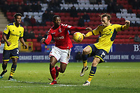 Charlton Athletic's Sullay Kaikai. on loan from Crystal Palace challenges for the ball with Todd Kane of Oxford United, currently on loan from Chelsea during Charlton Athletic vs Oxford United, Sky Bet EFL League 1 Football at The Valley on 3rd February 2018
