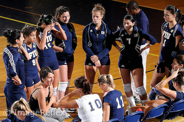 13 September 2008:  FIU Head Volleyball Coach Danijela Tomic speaks with her players in between sets of the FIU 3-0 (25-11, 25-19, 25-19) victory over Penn in the 2008 FIU Invitational tournament at Panther Arena in Miami, Florida.