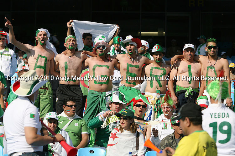 23 JUN 2010: Algeria fans, pregame. The United States National Team played the Algeria National Team at Loftus Versfeld Stadium in Tshwane/Pretoria, South Africa in a 2010 FIFA World Cup Group C match.
