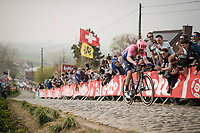 Alberto Bettiol (ITA/EF Education First) solo's up the infamous Paterberg and will maintain his lead until the finish line to win the 103rd Ronde van Vlaanderen 2019<br /> One day race from Antwerp to Oudenaarde (BEL/270km)<br /> <br /> ©kramon