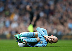David Silva of Manchester City injured during the premier league match at the Etihad Stadium, Manchester. Picture date 7th April 2018. Picture credit should read: Simon Bellis/Sportimage