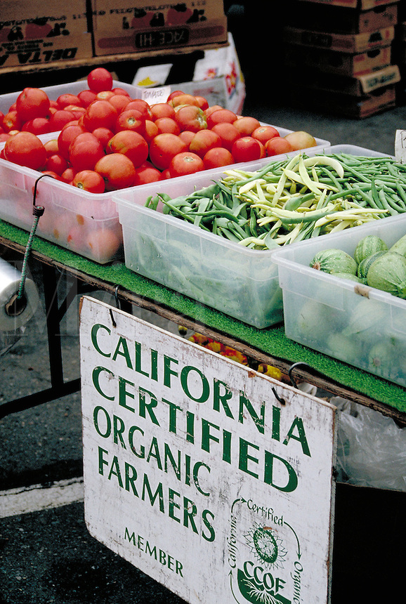 Produce for sale at the organic farmers market. food, fruit, vegetables, farming, trade, shopping. California.