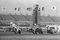 Peter Rubato, #605 Suzuki, leads Jimmy Felice, #17 Yamaha, Wayne Rainey, #6 Honda, and Jeff Heino, #64 Suzuki, Daytona 200, AMA Superbikes, Daytona International Speedway, Daytona Beach, FL, March 9, 1986.(Photo by Brian Cleary/bcpix.com)