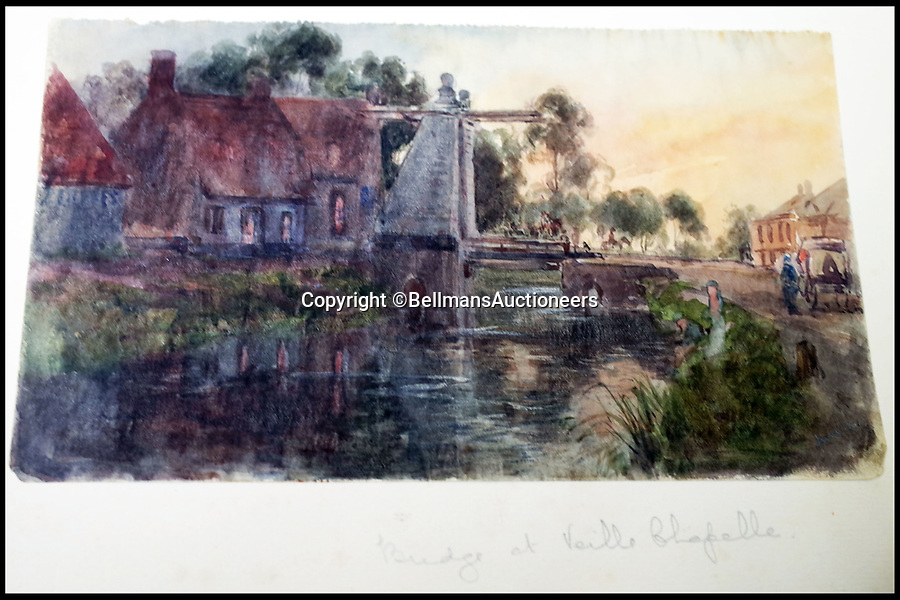 BNPS.co.uk (01202 558833)<br /> Pic: BellmansAuctioneers/BNPS<br /> <br /> Bridge near Veille Chapelle early in the war.<br /> <br /> A collection of beautiful First War watercolours that offer a fascinating glimpse into one man's life in the trenches has emerged for sale a century later.<br /> <br /> Talented artist Finlay Mackinnon, who exhibited multiple times at the prestigious Royal Academy, answered the call to sign up in 1914 and spent almost all of the First World War fighting in France.<br /> <br /> But in his free time on the front he did what he loved best, capturing life in the trenches and also the beauty of their bleak surroundings in his pictures.<br /> <br /> Bellmans Auctioneers, who are selling the album of artwork, know little about the provenance of the album, which is expected to fetch £4,000 at auction.