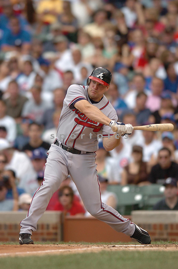 SCOTT THORMAN, of the Atlanta Braves , in action during the Braves game against the Chicago Cubs in Chicago, IL, on June 4,  2007...Cubs win 7-2...CHRIS BERNACCHI/ SPORTPICS..