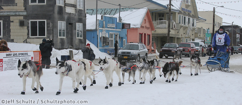 Blake Freking of Finland, Minn., has the fastest-ever Iditarod finish for a team of purebred Siberian huskies, in 11 days, 21 hours and 40 minutes. Photo by Jon Little.