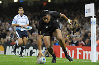 Julian Savea of New Zealand runs in a try during Match 23 of the Rugby World Cup 2015 between New Zealand and Georgia - 02/10/2015 - Millennium Stadium, Cardiff<br /> Mandatory Credit: Rob Munro/Stewart Communications