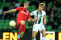 GRONINGEN - Voetbal , FC Groningen - FC Twente , KNVB Beker seizoen 2018-2019, 27-09-2018,  FC Groningen speler Tim Freriks met FC Twente speler Peet Bijen