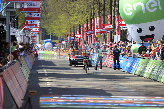 Rick Zabel (GER) BMC Racing Team approaches the finish line of Stage 1 of the 2016 Giro d'Italia, an individual time trial of 9.8km around Apeldoorn, The Nethrerlands. 6th May 2016.<br /> Picture: Eoin Clarke | Newsfile<br /> <br /> <br /> All photos usage must carry mandatory copyright credit (&copy; Newsfile | Eoin Clarke)