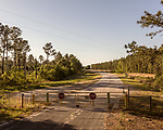 May 4, 2018. Fayetteville, North Carolina.<br /> <br /> A closed access road of the Chemours plant. <br /> <br /> The Chemours Company, a spin off from DuPont, manufactures many chemicals at its plant in Fayetteville, NC. One of these, commonly referred to as GenX, is part of the process of teflon manufacturing. Chemours has been accused of dumping large quantities of GenX into the Cape Fear River and polluting the water supply of city's down river and allowing GenX to leak into local aquifers.