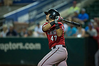 Billings Mustangs catcher Pabel Manzanero (47) follows through on his swing during a Pioneer League game against the Ogden Raptors at Lindquist Field on August 17, 2018 in Ogden, Utah. The Billings Mustangs defeated the Ogden Raptors by a score of 6-3. (Zachary Lucy/Four Seam Images)