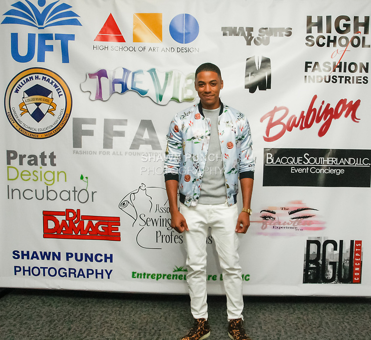 Justiin Davis arrives at the Teachers Rock The Runway fashion show presented by the United Federation of Teachers, at 52 Broadway in New York City, on May 31st 2018.
