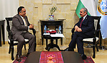 Palestinian Prime Minister Mohammad Ishtayeh meets with Indian Ambassador to Palestine Sunil Kumar, in the West Bank city of Ramallah, April 18, 2019. Photo by Prime Minister Office