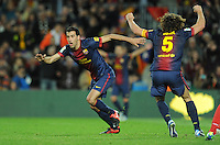 Sergio Busquets - Carles Puyol ( FC Barcelone ) .Football Calcio 2012/2013.La Liga Spagna.Foto Panoramic / Insidefoto .ITALY ONLY