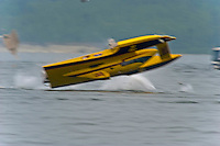 Pierre Mahaeu in the GP-46 breaks down after the finish line where he is struck from behind by Jimmy Shane in the GP-7 &quot;Long Gone&quot; at an estimated 110 MPH. Shane's boat drives pieces of Mahaeu's engine through the rear of the cockpit of the GP-46 before flipping upside down. The unconscious Shane was rescued from his hull by the safety team while Mahaeu was trapped in the collapsed cockpit of his boat which was towed to shore where he was cut from the cockpit after more than an hour. Both drivers were awake and alert when transported to local hospitals.<br /> Syracuse Hydrofest, Onondaga Lake, Syracuse, NY<br /> 20/21 June, 2009<br /> <br /> &copy;F. Peirce Williams 2009 USA<br /> F.Peirce Williams.photography<br /> ref: RAW (.NEF) File Available
