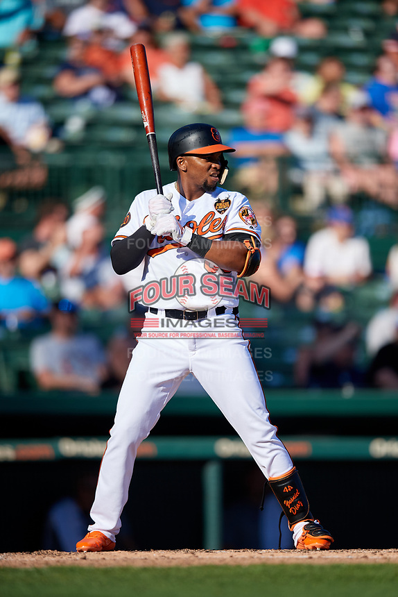 Baltimore Orioles right fielder Yusniel Diaz (80) at bat during a Grapefruit League Spring Training game against the Detroit Tigers on March 3, 2019 at Ed Smith Stadium in Sarasota, Florida.  Baltimore defeated Detroit 7-5.  (Mike Janes/Four Seam Images)