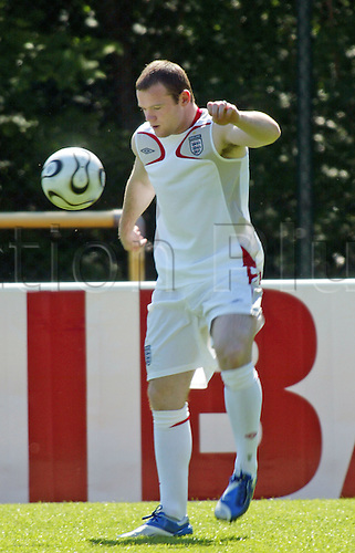 8 June 2006: England striker Wayne Rooney trains with a ball at England's base in Baden Baden following the scan on the broken bone in his foot. The result of the scan cleared him to play in the World Cup. Photo: actionplus....060608 football soccer train training