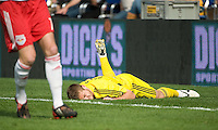 Robbie Rogers on the ground after being fouled during MLS Cup 2008. Columbus Crew defeated the New York Red Bulls, 3-1, Sunday, November 23, 2008. Photo by John Todd/isiphotos.com