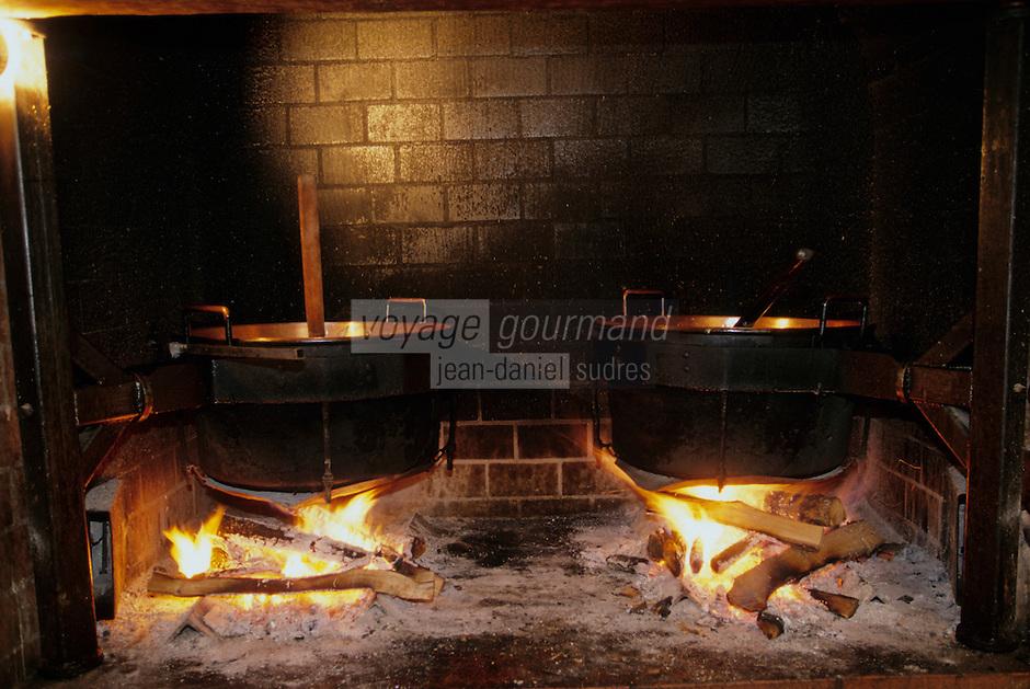 Europe/France/Auvergne/12/Aveyron/Env. de Villefranche-de-Rouergue/Monteils: Monsieur J. Carles cuit les confits de canard à la ferme au feu de bois