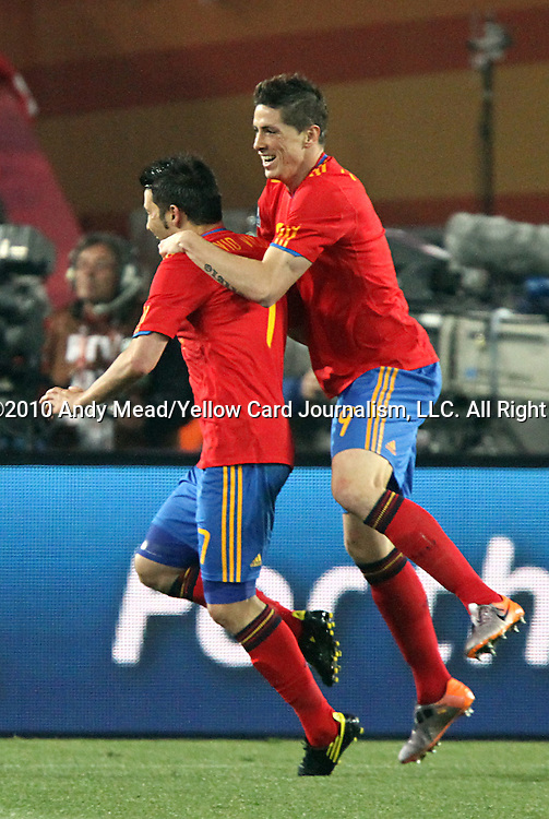 21 JUN 2010:  David Villa (ESP)(7) and Fernando Torres (ESP)(9) celebrate Villa's second goal.  The Spain National Team defeated the Honduras National Team 2-0 at Ellis Park Stadium in Johannesburg, South Africa in a 2010 FIFA World Cup Group C match.