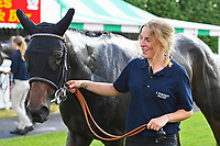 Ashazuri with stable lass after winning The Shadwell Stud Racing Excellence Apprentice Handicap, during Father's Day Racing at Salisbury Racecourse on 18th June 2017