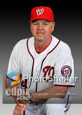 25 February 2011: Steve McCatty, Pitching Coach for the Washington Nationals, poses for his portrait on Photo Day at Space Coast Stadium in Viera, Florida. Mandatory Credit: Ed Wolfstein Photo