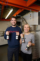 Tom Wilson and Lucy Holmes, founders of KANPAI London Craft Sake, London, UK, October 3, 2017. KANPAI London Sake was founded in February 2017 by wife and husband team Lucy Holmes and Tom Wilson in Peckham, South London. It is the UK's first sake brewery and produces artisan small-batch sake.