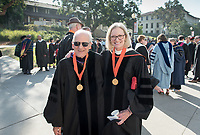 Occidental College Board of Trustees chair Susan Howell Mallory '76 M'78 and Trustee John Power '58.<br /> The class of 2021 are welcomed to Occidental College by trustees, faculty and staff in Thorne Hall on Aug. 29, 2017 during Oxy's 130th Convocation ceremony, a tradition that formally marks the start of the academic year and welcomes the new class.<br /> (Photo by Marc Campos, Occidental College Photographer)