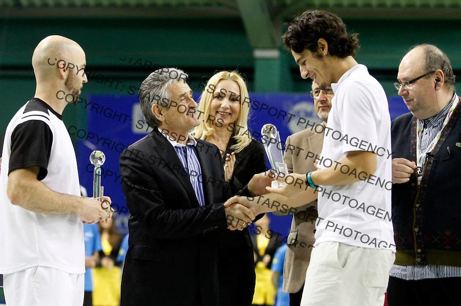 Tennis.Gemax Open 2010, doubles final match.Ilija Bozoljac & Jamie Delgado (GBR) Vs. Dustin Brown (JAM) & Martin Slanar (AUT).Djordjo Antelj.Belgrade, 20.02.2010..foto: Srdjan Stevanovic©