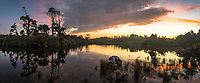 Gillespies Lagoon reflections at cloudy sunset, Westland Tai Poutini National Park, West Coast, South Westland, UNESCO World Heritage Area, New Zealand, NZ